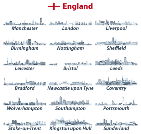 England's largest cities vector skylines illustrations in tints of blue color palette. All elements separated in editable and detachable layers. Vector illustration