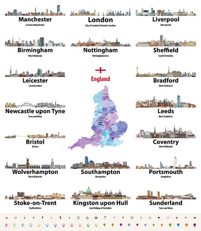 England largest cities skylines icons vector set. Map and flag of England.