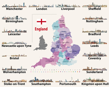 vector set of Englands largest cities skylines. Map and flag of England. Illustration
