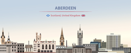 Vector Illustration of Aberdeen City Skyline with Scotland and United kingdom flags