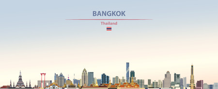 Vector illustration of the city of Bangkok, Thailand.  イラスト・ベクター素材