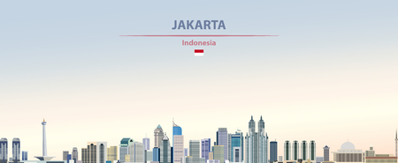 Vector illustration of Jakarta city skyline Иллюстрация