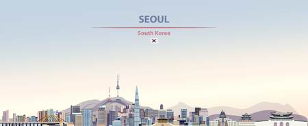 Seoul city skyline with flag of south korea  イラスト・ベクター素材