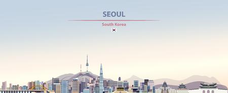 Seoul city skyline with flag of south korea Illustration
