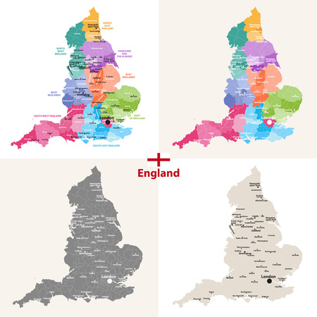 vector set of England maps with largest cities
