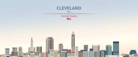 Vector illustration of the city skyline of Cleveland Çizim