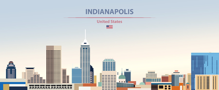 Indianapolis city skyline on white background with flag of United States Illustration