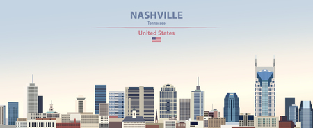 Nashville city skyline with flag of United States Stock Vector - 121180880