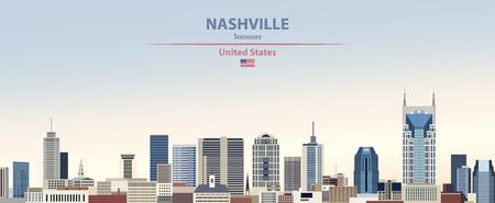 Nashville city skyline with flag of United States