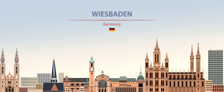 Vector illustration of Wiesbaden city skyline Иллюстрация