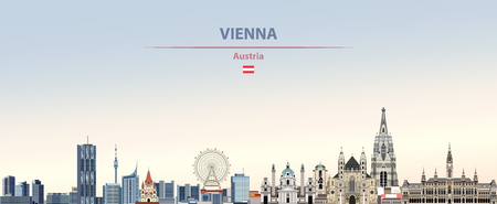Vector illustration of Vienna city skyline