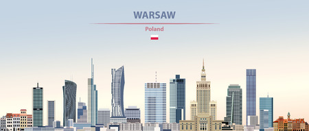 Vector illustration of Warsaw city skyline