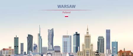 Vector illustration of Warsaw city skyline