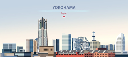 Vector illustration of Yokohama city skyline. Colorful gradient beautiful daytime background. Illustration