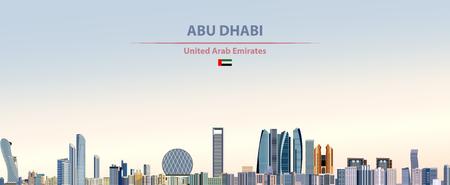 Abu Dhabi city skyline on colorful gradient background