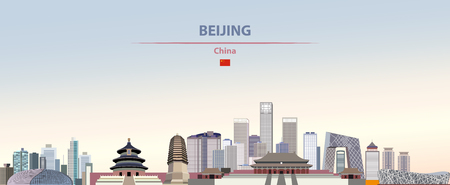 Vector illustration of Beijing city skyline on colorful gradient beautiful daytime background
