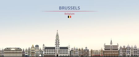 Vector illustration of Brussels city skyline