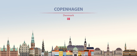 Vector illustration of Copenhagen city skyline