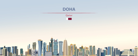 Vector illustration of Doha city skyline  イラスト・ベクター素材
