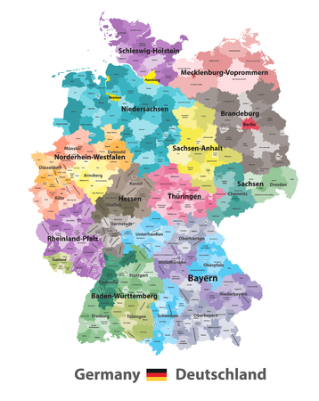 Germany high detailed vector map with subdivisions. All layers detachable and labeled.