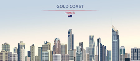 Vector illustration of the city of Gold Coast. 일러스트