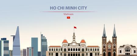 Ho Chi Minh City skyline on colorful background