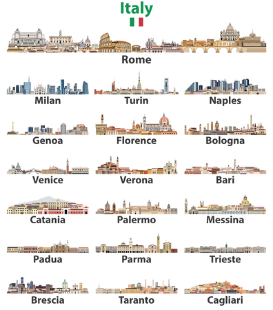 Italy cities skylines isolated on white background. Vector high detailed illustration