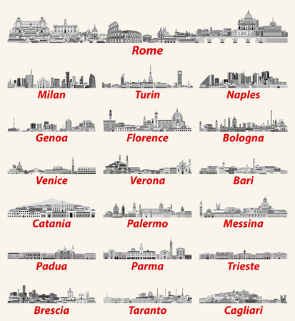 Italian cities skylines in black and white color palette. Vector high detailed illustration