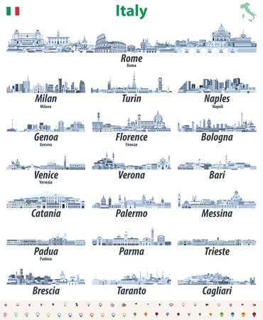 Italian cities skylines icons in blue color palette. Vector illustration Illustration