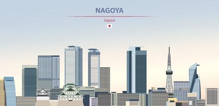 Vector illustration of Nagoya city skyline on colorful gradient beautiful daytime background