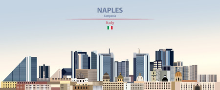 Vector Illustration of Naples city skyline  イラスト・ベクター素材