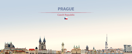 Vector illustration of Prague city skyline