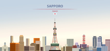 Vector illustration of Sapporo city skyline