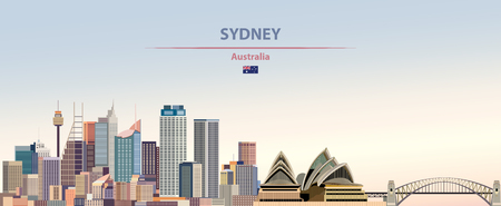 Vector Illustration of Sydney city skyline on beautyful daytime background