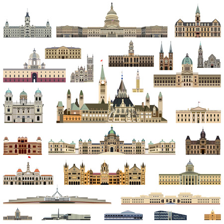 parliament buildings and administrative buildings set Illustration