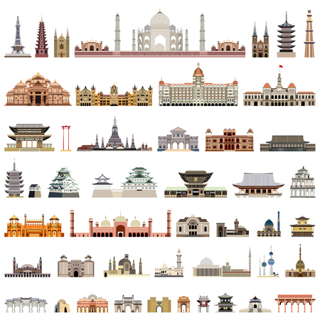 collection of isolated templates, towers, cathedrals, pagodas, mausoleums. Standard-Bild - 122397699