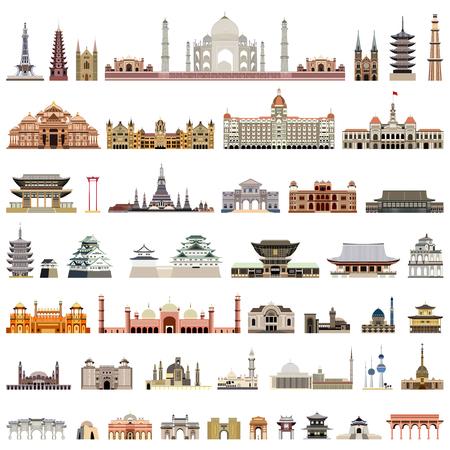 Sammlung isolierter Vorlagen, Türme, Kathedralen, Pagoden, Mausoleen. Vektorgrafik