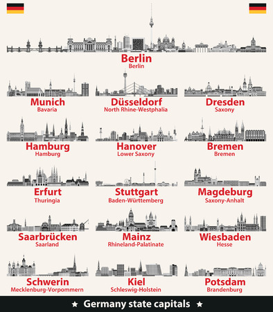 Germany state capitals cities skylines Illustration