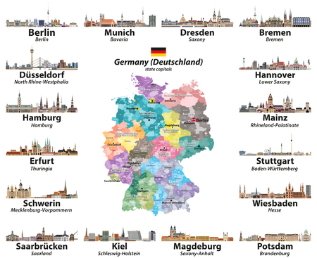 map of Germany with state capitals cities skylines. All layers are labelled and well organized