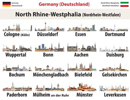 Iconos de horizontes de las ciudades más grandes de Renania del Norte-Westfalia