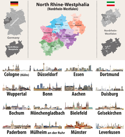 map of the largest cities of North Rhine-Westphlia Иллюстрация