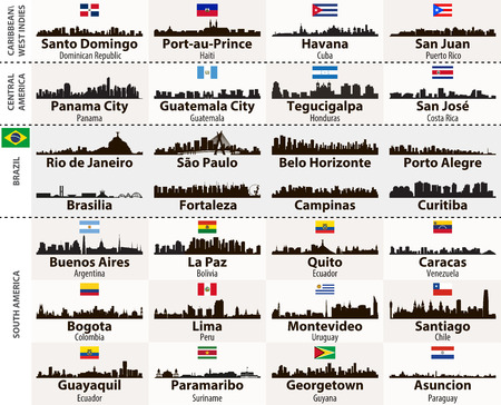 set of Central and South America cities abstract skylines silhouettes
