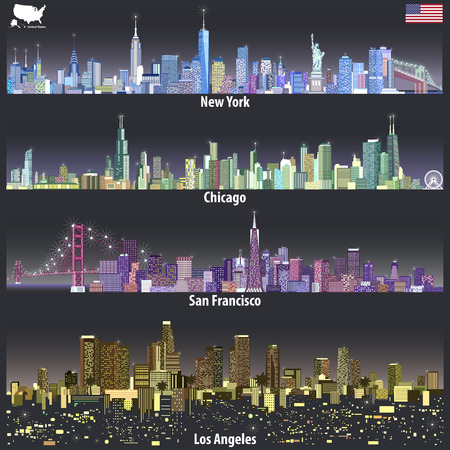abstract illustrations of United States city skylines in different colorful palettes