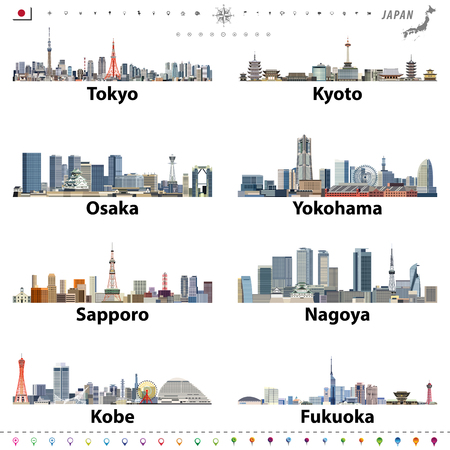 illustration of japanese city skylines with location, navigation and travel icons; flag and map of Japan