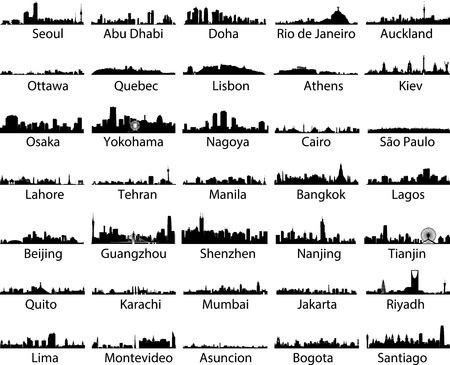 Ensemble de vecteurs de villes du monde