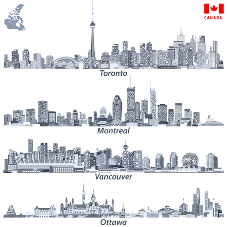 illustrations of Canadian cities Toronto, Montreal, Vancouver and Ottawa skylines in tints of blue color palette with map and flag of Canada Standard-Bild - 122398149
