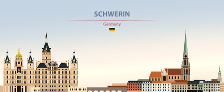 illustration of the city skyline of Schwerin Stock Illustratie