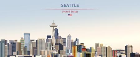 illustration of the city skyline of Seattle Standard-Bild - 122398791