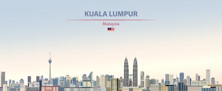 Ilustración del horizonte de la ciudad de Kuala Lumpur. Ilustración de vector