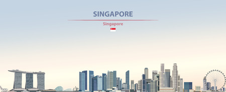 illustration of the city skyline of Singapore 免版税图像 - 122398682